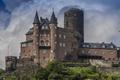 Picture wall, Burg Katz Castle, Katz, Germany, trees, the bushes, castle, tower, clouds