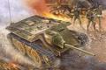 Picture painting, war, German E10 Tank Destroyer, ww2, art