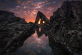 Picture holes, light, Wallpaper from lolita777, sea, the ocean, clouds, rocks, stones, sunset