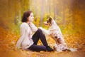 Picture dog, girl, autumn