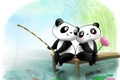 Picture two, love, fishing, figure, rod, Lotus, Panda, embarrassment
