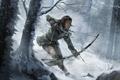 Picture Winter, Girl, Trees, Snow, Bow, Lara Croft, Art, Lara Croft, Arrow, Rise of the: Tomb ...