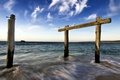 Picture tree, sea, bars, the horizontal bar