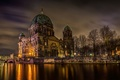 Picture Berlin, Berlin Cathedral, Berlin, The Berliner Dom, light, Germany, trees, Germany, Spree, the city, night, ...