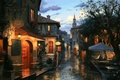 Picture street, watch, home, the evening, bar, cafe, umbrellas, town, painting, chapel, bar, evening, street, houses, ...