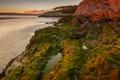Picture algae, lake, the evening, mountains, rocks, stones, sunset
