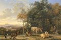 Picture animals, Karel Dujardin, Landscape with Two Donkeys Goats and Pigs, picture