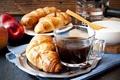 Picture coffee, Breakfast, cream, cup, coffee, croissants, growing, breakfast