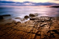 Picture sea, surface, clouds, cracked, stones, the evening