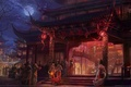 Picture night, lights, people, girls, the moon, pagoda, the full moon, game wallpapers, Swordsman