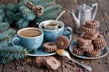 Picture set, spruce, cakes, winter, dessert, bumps, cookies, caramel, coffee, Anna Verdina, chocolate, Cup, branches