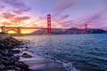 Picture America, river, Golden Gate Bridge, California, Golden Gate strait, liquid, United States, sunset, suspension bridge, ...