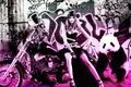 Picture girl, beautiful, Panda, Karina Kozyreva, sweetheart, Rendering, legs, motorcycle, smile, graffiti, look