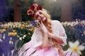 Picture flowers, wreath, bouquet, Arabella, daffodils, girl, mood, braid