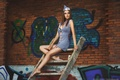 Picture ladder, graffiti, wall, brown hair, green eyes, Alla Berger, stewardess, model
