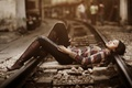 Picture Asian, girl, railroad