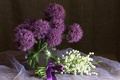Picture still life, Allium, lilies of the valley