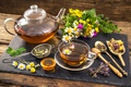 Picture tea, honey, chamomile, grass, chamomile, hot, field, honey, drink, tea, flowers, flowers