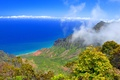 Picture sea, the sky, mountains, horizon, trees, shore, clouds
