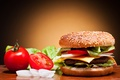 Picture cheese, bow, vegetables, tomatoes, hamburger, Patty, roll, cucumbers, sesame, fast food, fast food