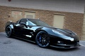 Picture the building, drives, the door, zr1, corvette, black, Chevrolet, black, chevrolet, Corvette