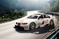 Picture road, race car, white, E92, BMW, white, stickers, decal, labels, BMW, forest