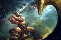 Picture huge, snake, sword, fight, Conan the barbarian, two-handed, jungle