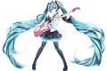 Picture hatsune miku, art, microphone, smile, headphones, anime, girl, guitar, vocaloid