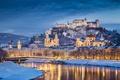 Picture winter, snow, landscape, bridge, river, castle, mountain, home, the evening, Austria, fortress, promenade, Salzburg, palaces, ...