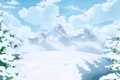 Picture snow, art, winter, mountains, trees, clouds