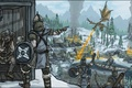 Picture village, dragon, Skyrim, The Elder Scrolls V, dragonborn, fire