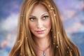 Picture portrait, face, pendant, girl, hair