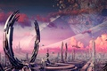 Picture ships, art, facilities, ring, transport, planet, the city, fiction, stones, crater
