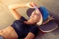 Picture Girl, Blonde, Smile, Press, Cap, Belly, Skateboard