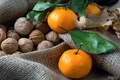 Picture burlap, walnuts, tangerines