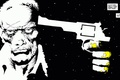 Picture white, gun, black, minimalism, Sin City, quote, comic, Sin City, John Hartigan
