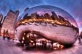 Picture people, the city, excerpt, Chicago, Millennium Park, fisheye, HDR, clouds