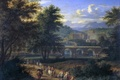 Picture picture, bridge, Landscape with the Road to the River, trees, Adrian Frans Boudewyns, people, castle