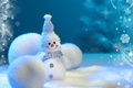 Picture snow, snowflakes, smile, holiday, balls, magic, snowman, snow, Snegovichok