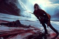 Picture skates, blood, sword, mountains, ice, girl, rocks