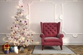 Picture lights, rendering, room, holiday, toys, interior, chair, candles, gifts, New year, Mat, tree, Christmas, 3D