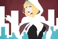 Picture girl, face, spider, art, blonde, costume, comics, Spider-Woman, gwen stacy, Edge of Spider-Verse, Spider-Gwen