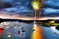Picture lights, river, boats, Salute