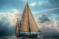 Picture Clouds, Water, Sunlight, Sail Boat, Nautical