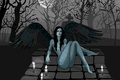 Picture girl, wings, vector, cemetery