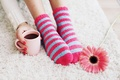 Picture cup, Cup, socks, coffee, flower, coffee, socks, feet