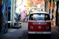 Picture red, bright, graffiti, volkswagen, van, the city, street, narrow