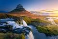 Picture mountain Kirkjufell, waterfalls, Iceland