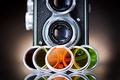 Picture retro, colored, the camera, different, lenses, glass, the camera