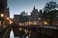 Picture Holland, Amsterdam, the evening, street, twilight, channel, lights